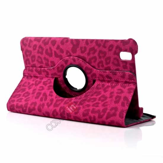 wholesale 360 Rotary Leopard Skin Pattern Leather Case For Samsung Galaxy Tab Pro 8.4 T320 - Rose red
