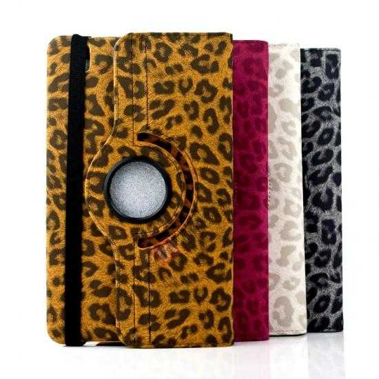 low price 360 Rotary Leopard Skin Pattern Leather Case For Samsung Galaxy Tab Pro 8.4 T320 - White
