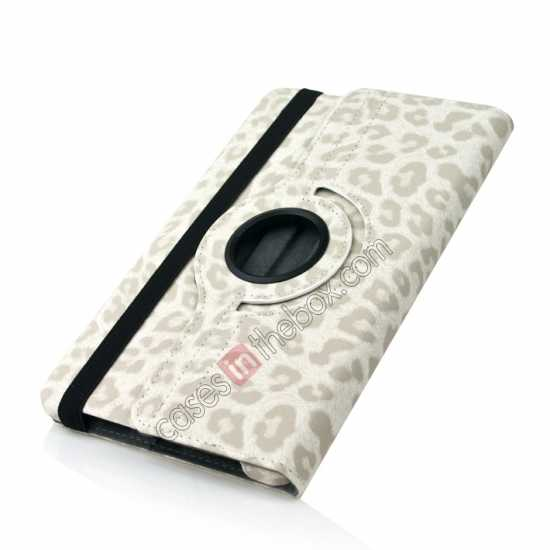 top quality 360 Rotary Leopard Skin Pattern Leather Case For Samsung Galaxy Tab Pro 8.4 T320 - White