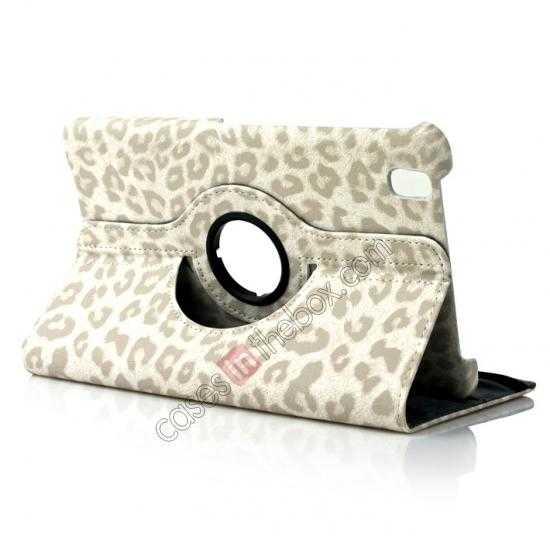 wholesale 360 Rotary Leopard Skin Pattern Leather Case For Samsung Galaxy Tab Pro 8.4 T320 - White