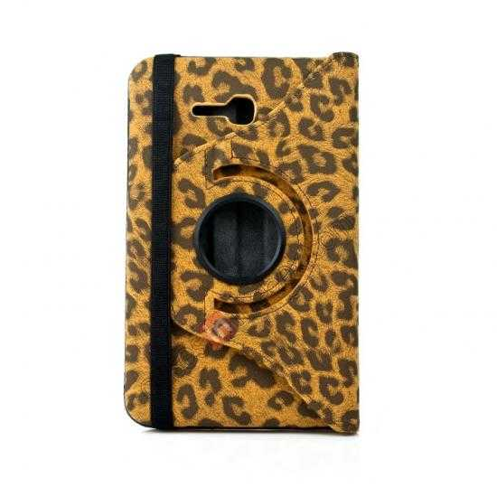 best price 360 Rotary Leopard Skin Pattern Leather Case For Samsung Galaxy Tab3 Lite7/T110 - Brown