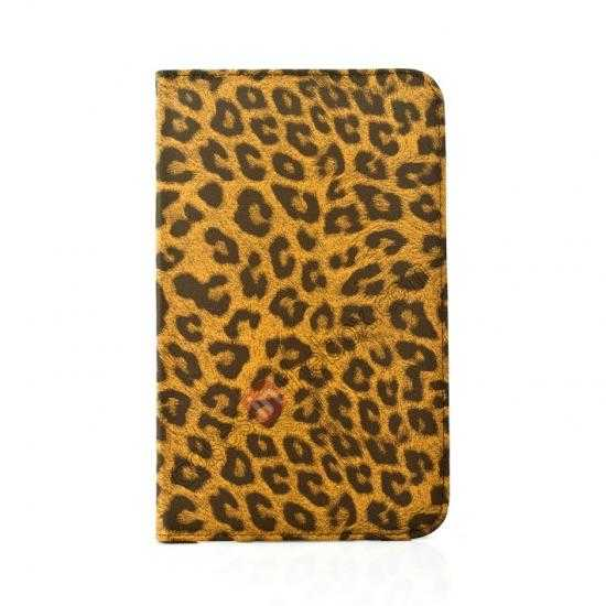 on sale 360 Rotary Leopard Skin Pattern Leather Case For Samsung Galaxy Tab3 Lite7/T110 - Brown