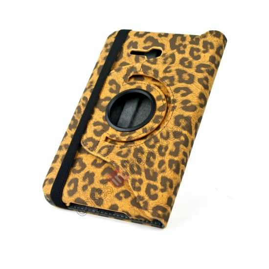 top quality 360 Rotary Leopard Skin Pattern Leather Case For Samsung Galaxy Tab3 Lite7/T110 - Brown