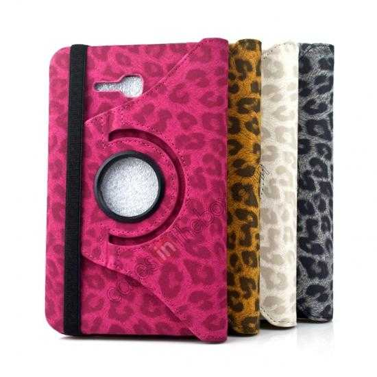 low price 360 Rotary Leopard Skin Pattern Leather Case For Samsung Galaxy Tab3 Lite7/T110 - Rose red