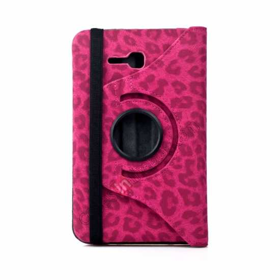 best price 360 Rotary Leopard Skin Pattern Leather Case For Samsung Galaxy Tab3 Lite7/T110 - Rose red