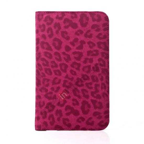 on sale 360 Rotary Leopard Skin Pattern Leather Case For Samsung Galaxy Tab3 Lite7/T110 - Rose red