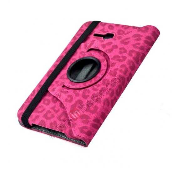 top quality 360 Rotary Leopard Skin Pattern Leather Case For Samsung Galaxy Tab3 Lite7/T110 - Rose red