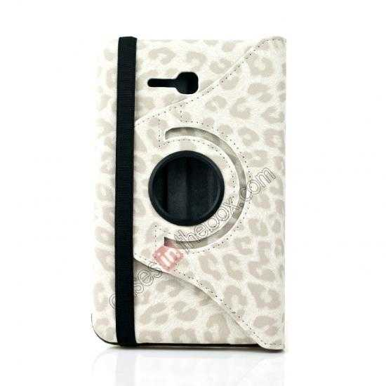 best price 360 Rotary Leopard Skin Pattern Leather Case For Samsung Galaxy Tab3 Lite7/T110 - White