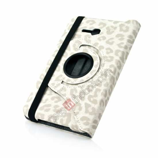 top quality 360 Rotary Leopard Skin Pattern Leather Case For Samsung Galaxy Tab3 Lite7/T110 - White
