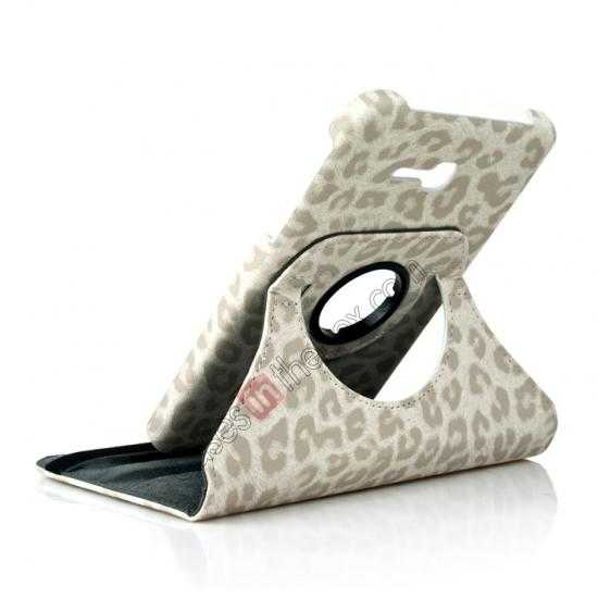 wholesale 360 Rotary Leopard Skin Pattern Leather Case For Samsung Galaxy Tab3 Lite7/T110 - White