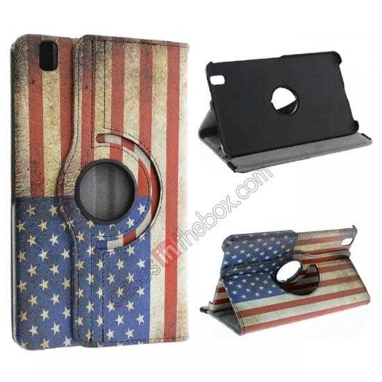 wholesale 360º Rotate US Flag Leather Case Cover For Samsung Galaxy Tab Pro 8.4 T320