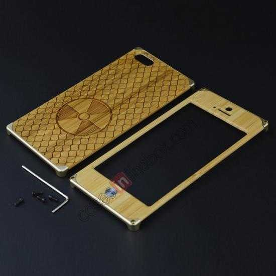 low price Aluminum Metal + Carving fan bamboo Hard Back Cover Case for iPhone 5 5S - Champagne Gold