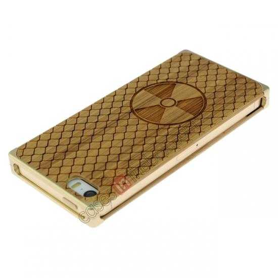 cheap Aluminum Metal + Carving fan bamboo Hard Back Cover Case for iPhone 5 5S - Champagne Gold