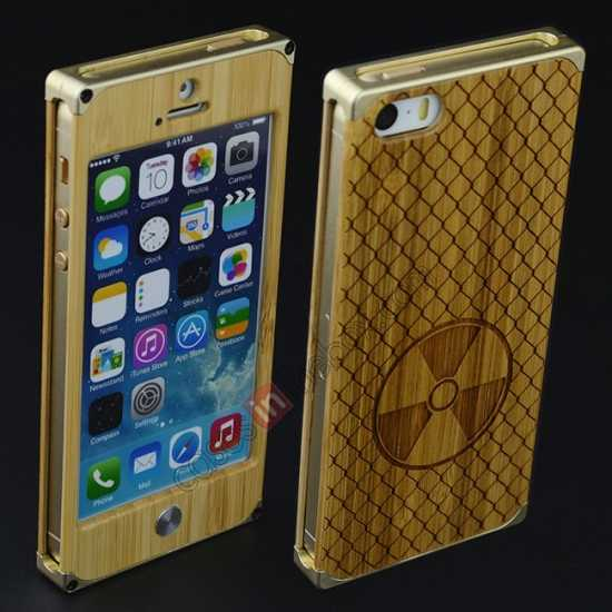on sale Aluminum Metal + Carving fan bamboo Hard Back Cover Case for iPhone 5 5S - Champagne Gold