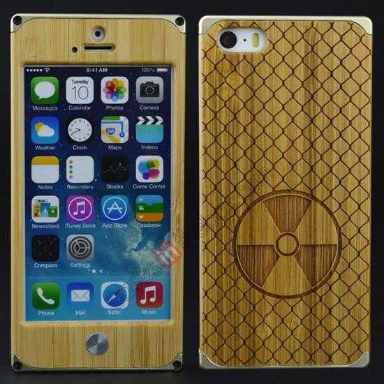 best price Aluminum Metal + Carving fan bamboo Hard Back Cover Case for iPhone 5 5S - Champagne Gold