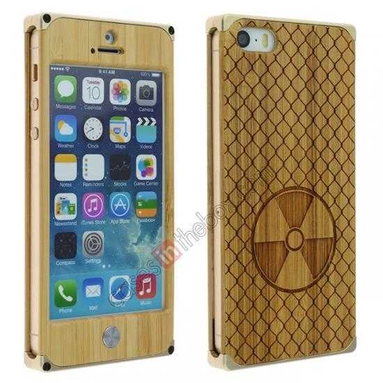 wholesale Aluminum Metal + Carving fan bamboo Hard Back Cover Case for iPhone 5 5S - Champagne Gold