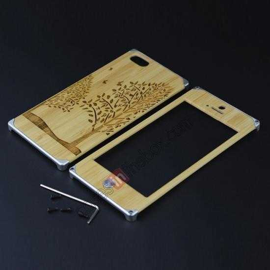 low price Aluminum Metal + Carving Tree bamboo Hard Back Cover Case for iPhone 5 5S - Silver
