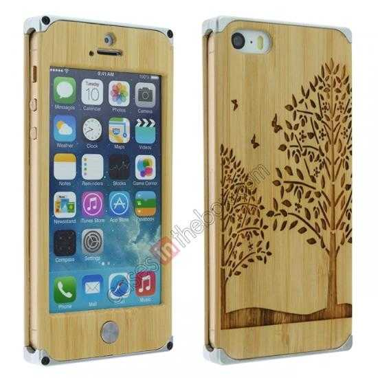 wholesale Aluminum Metal + Carving Tree bamboo Hard Back Cover Case for iPhone 5 5S - Silver