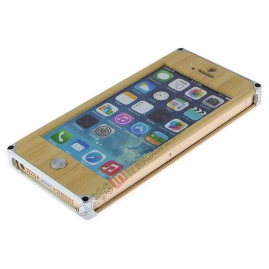 discount Aluminum Metal + Carving Tree bamboo Hard Back Cover Case for iPhone 5 5S - Silver