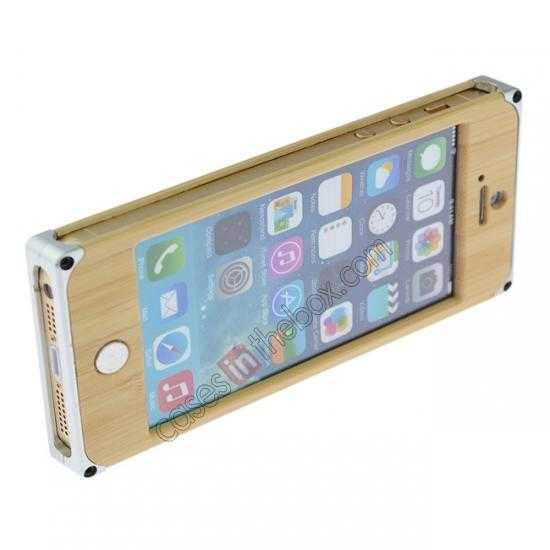 best price Aluminum Metal + Carving Tree bamboo Hard Back Cover Case for iPhone 5 5S - Silver