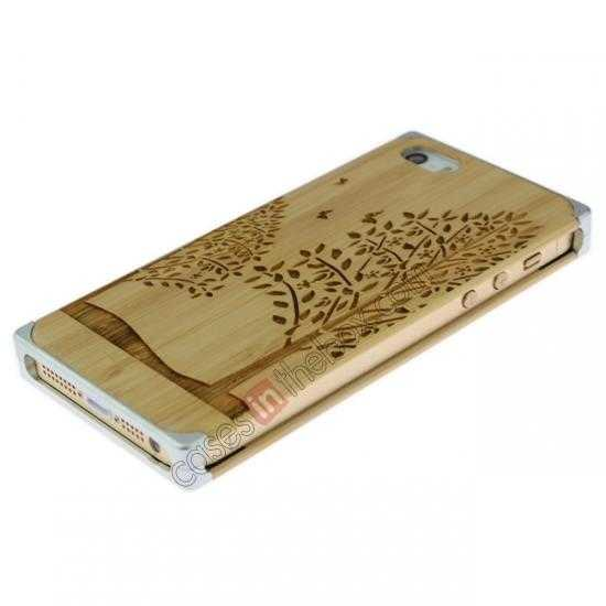 top quality Aluminum Metal + Carving Tree bamboo Hard Back Cover Case for iPhone 5 5S - Silver