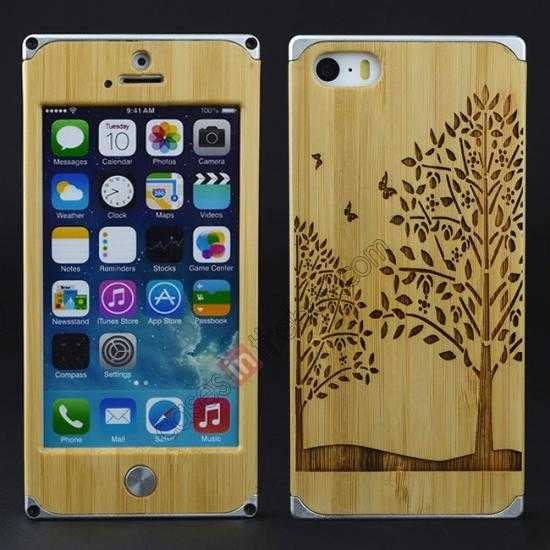 on sale Aluminum Metal + Carving Tree bamboo Hard Back Cover Case for iPhone 5 5S - Silver