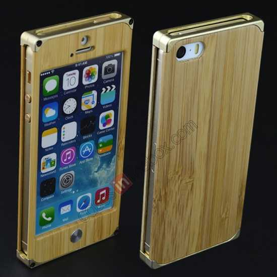 low price Aluminum Metal + Natural Bamboo Hard Back Cover Case for iPhone 5 5S - Champagne Gold