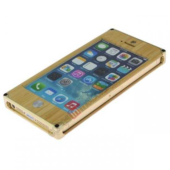 discount Aluminum Metal + Natural Bamboo Hard Back Cover Case for iPhone 5 5S - Champagne Gold