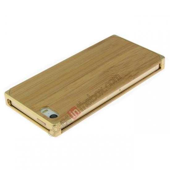 cheap Aluminum Metal + Natural Bamboo Hard Back Cover Case for iPhone 5 5S - Champagne Gold
