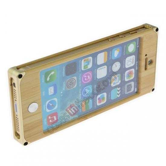 top quality Aluminum Metal + Natural Bamboo Hard Back Cover Case for iPhone 5 5S - Champagne Gold