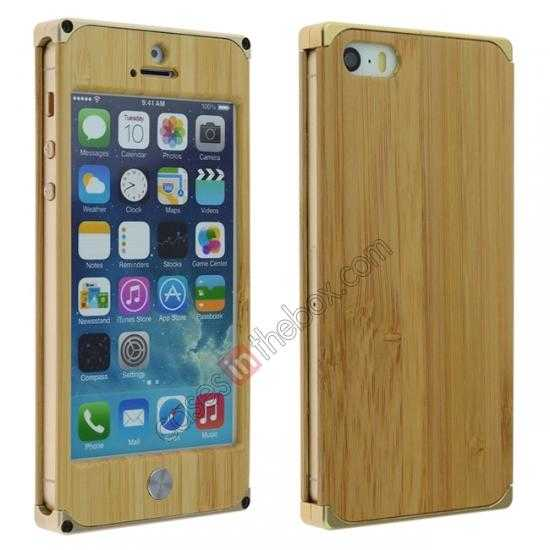 wholesale Aluminum Metal + Natural Bamboo Hard Back Cover Case for iPhone 5 5S - Champagne Gold