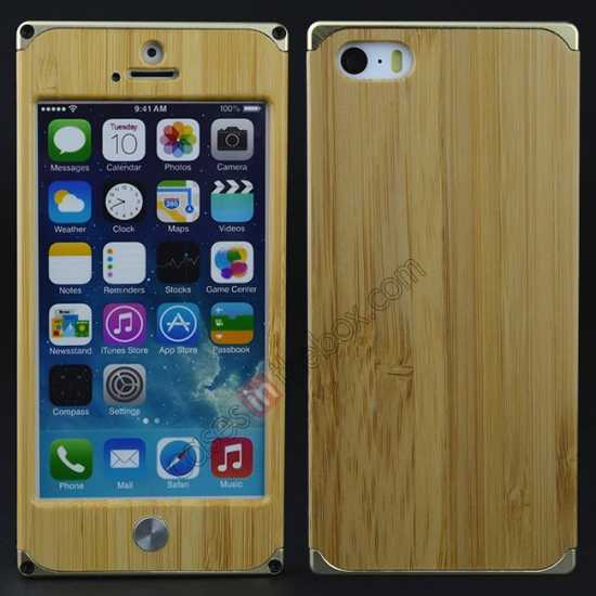 on sale Aluminum Metal + Natural Bamboo Hard Back Cover Case for iPhone 5 5S - Champagne Gold
