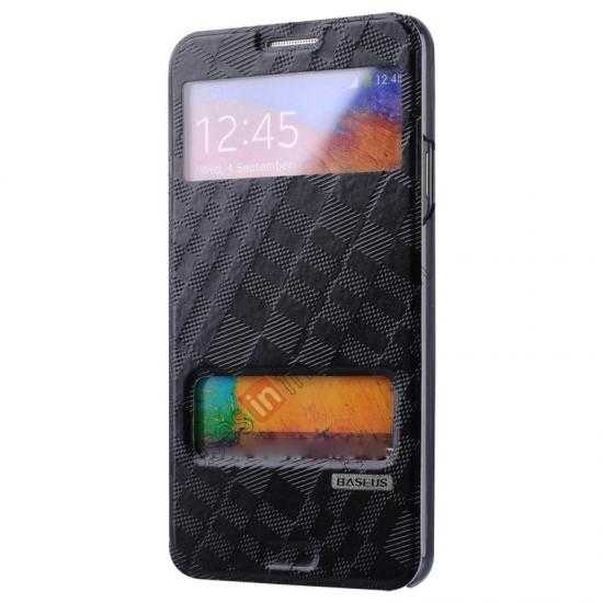 top quality Baseus Brocade View Window Leather Stand Case for Samsung Galaxy Note 3 Neo - Black