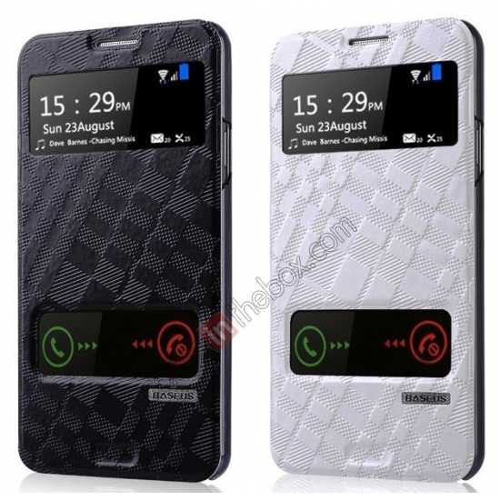 low price Baseus Brocade View Window Leather Stand Case for Samsung Galaxy Note 3 Neo - Black