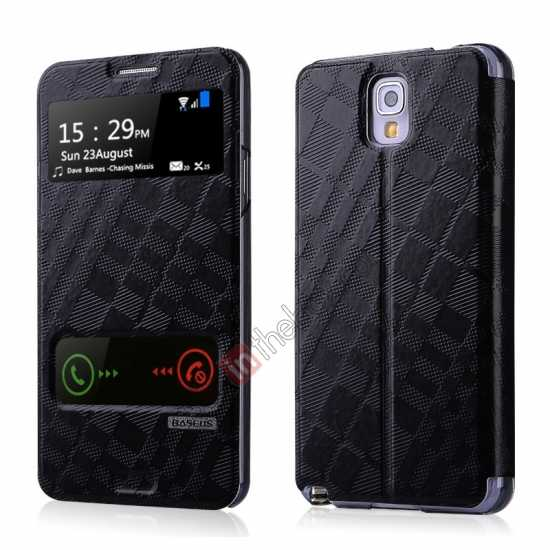 wholesale Baseus Brocade View Window Leather Stand Case for Samsung Galaxy Note 3 Neo - Black