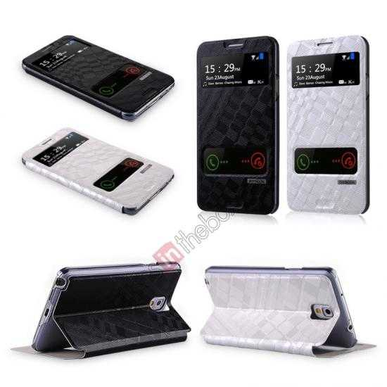 china wholesale Baseus Brocade View Window Leather Stand Case for Samsung Galaxy Note 3 Neo - Black