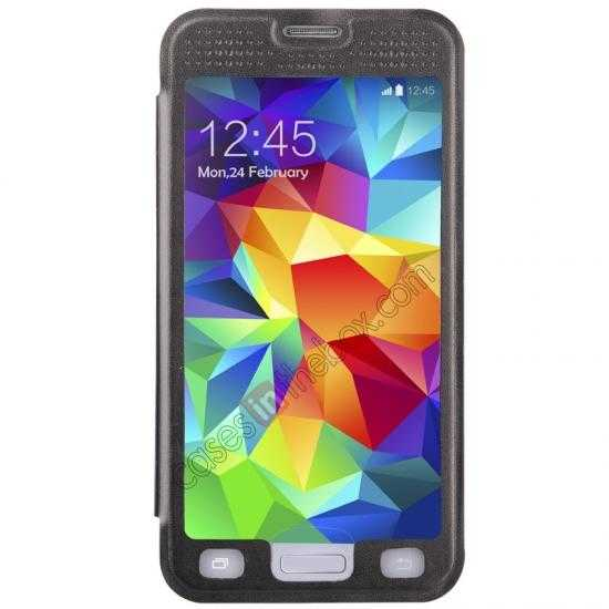 cheap BASEUS Starry Leather Case for Samsung Galaxy S5 With Full-screen Window - Black