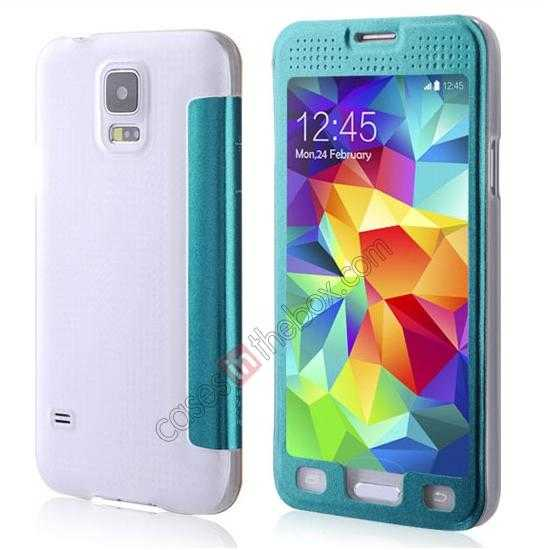 wholesale BASEUS Starry Leather Case for Samsung Galaxy S5 With Full-screen Window - Blue