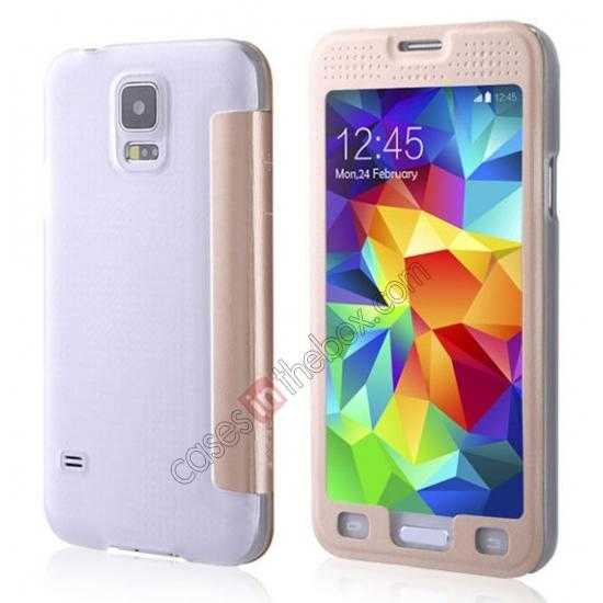 wholesale BASEUS Starry Leather Case for Samsung Galaxy S5 With Full-screen Window - Gold
