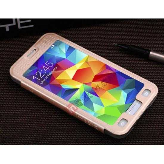 best price BASEUS Starry Leather Case for Samsung Galaxy S5 With Full-screen Window - Gold