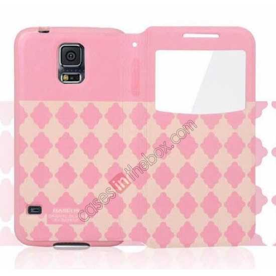 best price Baseus Tokyo Secret Folio Window Leather Case for Samsung Galaxy S5 G900 - Pink