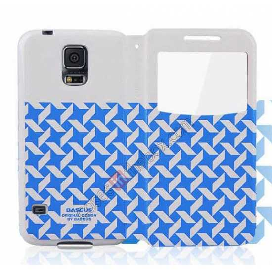 best price Baseus Tokyo Secret Folio Window Leather Case for Samsung Galaxy S5 G900 - White