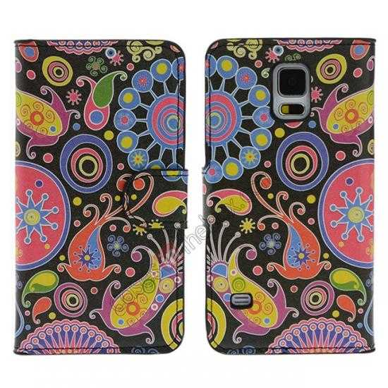 wholesale Beautiful Fish Pattern Wallet Style Stand Leather Case For Samsung Galaxy S5
