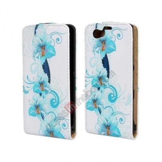 wholesale Blue Flowers Pattern Top Flip Leather Case Cover for Sony Xperia Z1 Compact(M51W)