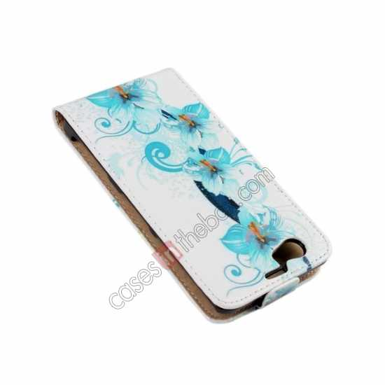 discount Blue Flowers Pattern Top Flip Leather Case Cover for Sony Xperia Z1 Compact(M51W)