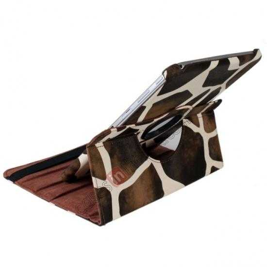 best price Brown Camo 360 Degree Rotating Leather Case Cover for Samsung Galaxy Tab 3 10.1 P5200