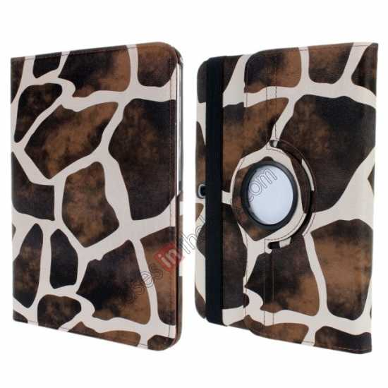 wholesale Brown Camo 360 Degree Rotating Leather Case Cover for Samsung Galaxy Tab 3 10.1 P5200