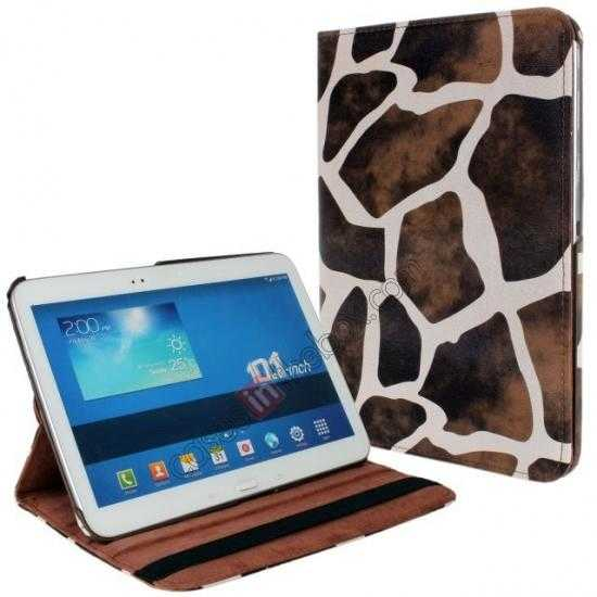 discount Brown Camo 360 Degree Rotating Leather Case Cover for Samsung Galaxy Tab 3 10.1 P5200