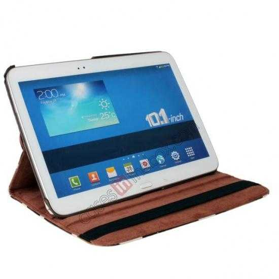 top quality Brown Camo 360 Degree Rotating Leather Case Cover for Samsung Galaxy Tab 3 10.1 P5200