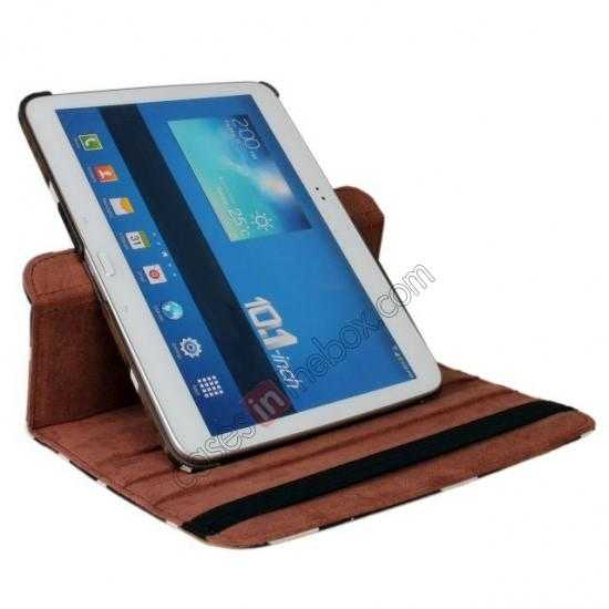 on sale Brown Camo 360 Degree Rotating Leather Case Cover for Samsung Galaxy Tab 3 10.1 P5200